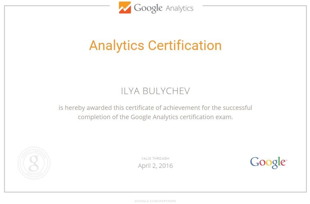Google Analytics Certification By Ilya B Live Ppc Ads Freelancer