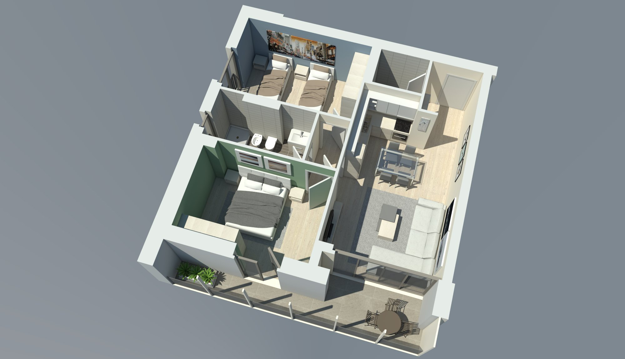 2D - 3D Apartment Visualization by LZR Architecture & Design ...