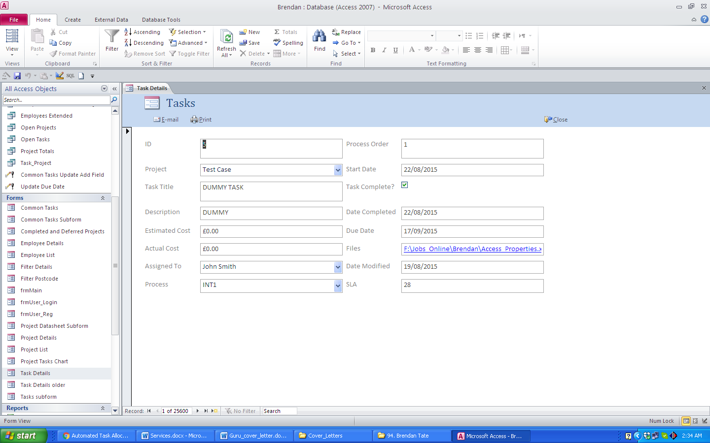 access database project management