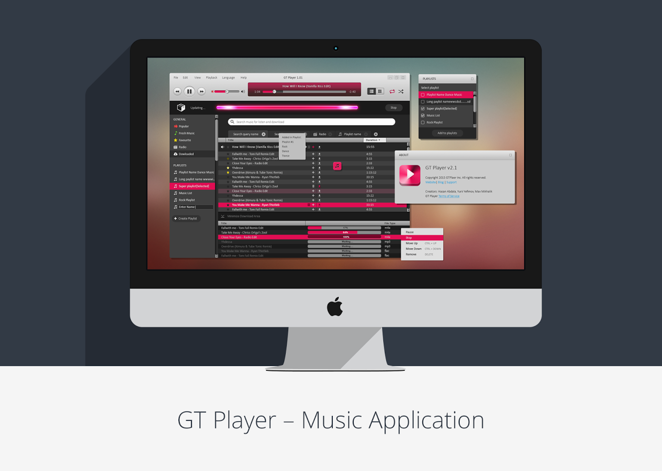 GT Player – Music Desktop Application by Desart Lab - Web Design