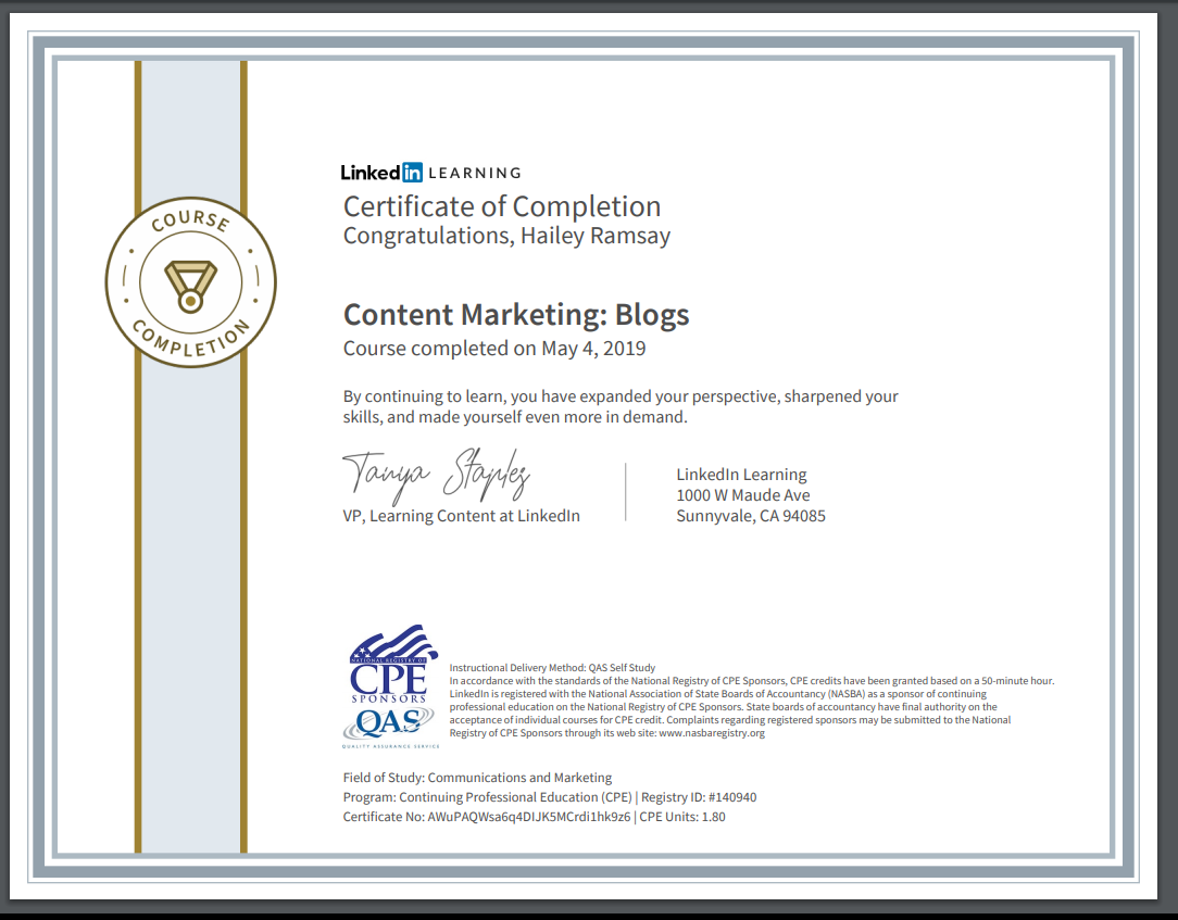 Linkedin Official Certificates By Hailey Ramsay 797471