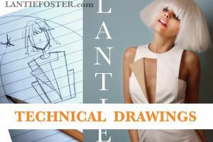 Portfolio for fashion designer/technical drawings