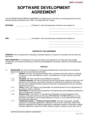 Software Development Agreement Mutual Agreement Contract Template