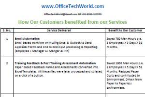 Portfolio for VBA Programming for Excel, Outlook etc