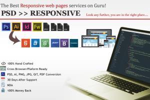 Portfolio for Convert PSDs to HTML5/CSS/Responsive