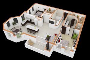 Portfolio for 3D Floor plan Rendering