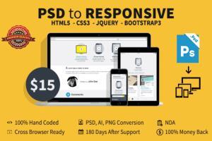 Portfolio for convert PSD to Responsive HTML5 CSS3