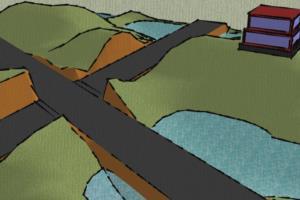 Crossroad 3d landscape