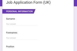 Portfolio for Job Application Form (UK)