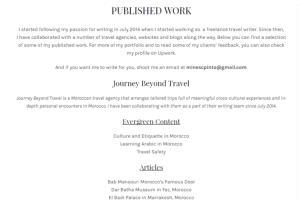 Portfolio for Travel Writing