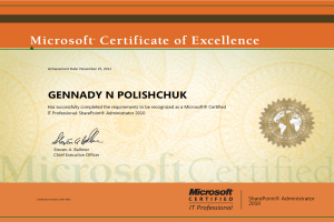 Portfolio for Certified Exchange and SharePoint admin