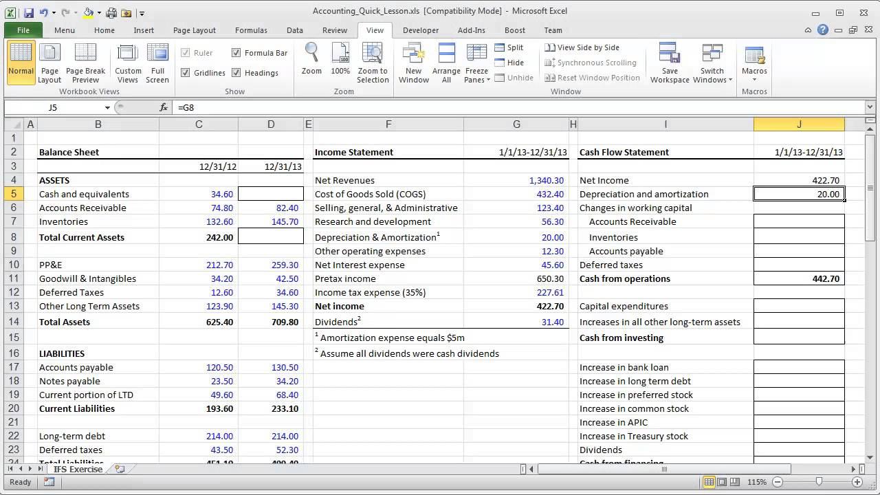 model cash flow statement excel