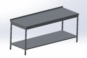 Table with shelf made of sheet metal (stainless steel)