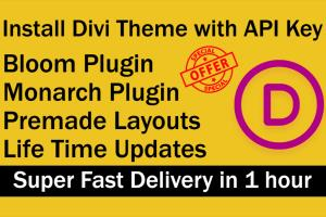 Portfolio for install the divi theme and divi API key