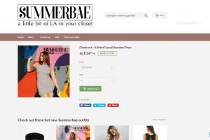 Portfolio for summerbae.com - full online retail busin
