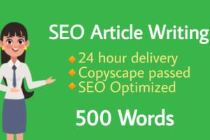 I will Write Seo Optimized Article in 24hr
