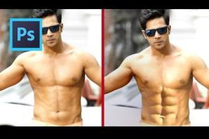 Portfolio for 6 pack abs on your photo PROFESSIONALLY