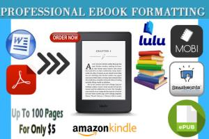 Portfolio for I will do ebook formatting for kindle