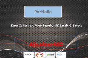 Portfolio for Data Entry/Collection &  Web Research