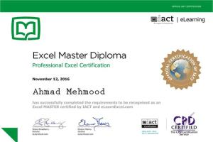 Excel Master Diploma Certificate