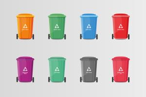 Multicolored Recycle Waste Bins