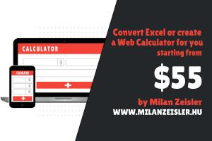 Portfolio for Excel to Web Calculator Development