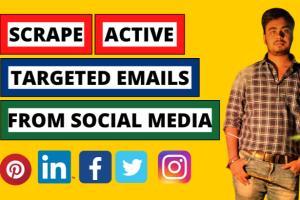 Portfolio for scrape active emails from social media