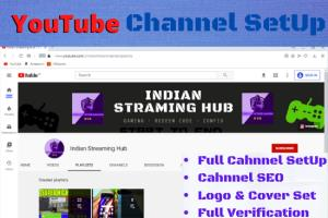 I will set up a YouTube channel with logo, banner & SEO