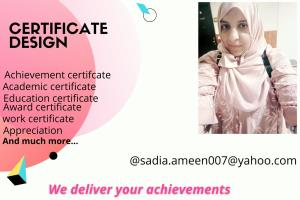 Portfolio for i will design certificate